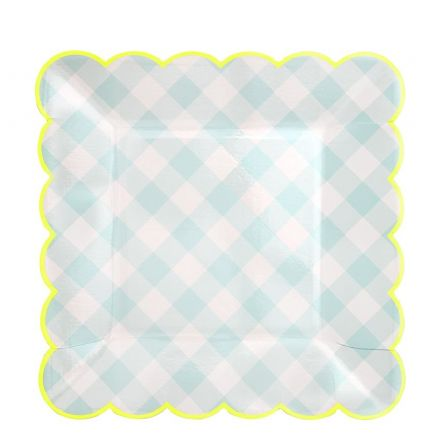 Blue Gingham Party Paper Plates - Large